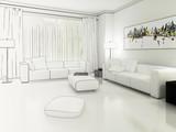 Fototapety Apartment in Weiß (Zeichnung)