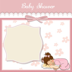 baby shower card with little baby girl
