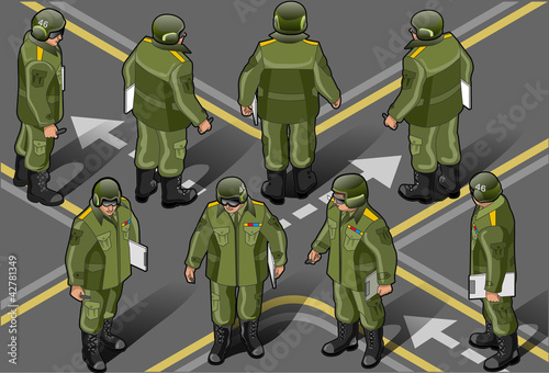 Aluminium Militair isometric set of military man in eight position