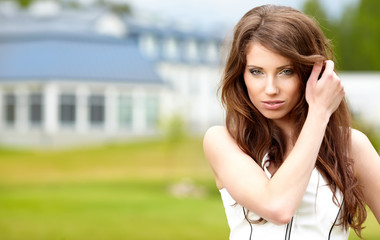 beautiful young attractive woman outdoors portrait