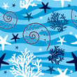 Shells and starfish seamless pattern