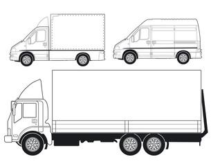 Lastwagen und Lieferwagen