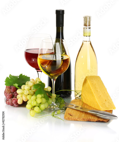 bottles and glasses of wine, cheese and ripe grapes isolated