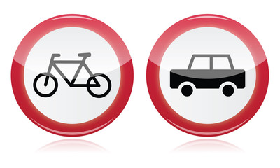 Car and bike icons road signs