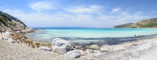 Sardinia, panorama of Mari Pintau beach