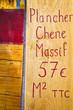Pancarte plancher chêne