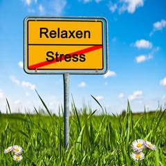 Ortsschild Stress, Relaxen