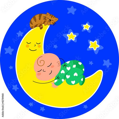Dolce bimbo che dorme sulla luna con gatto, vettoriale.