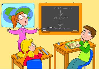 Insegnante e alunni in classe, illustrazione vettoriale