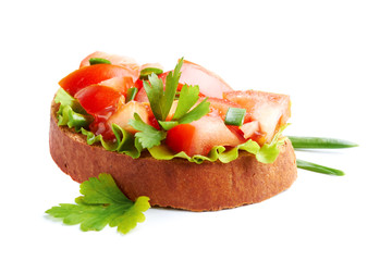 Bruschette isolated on a white background