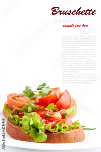 Italian Bruschette isolated on a white background