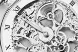 Fototapety black and white close view of watch mechanism