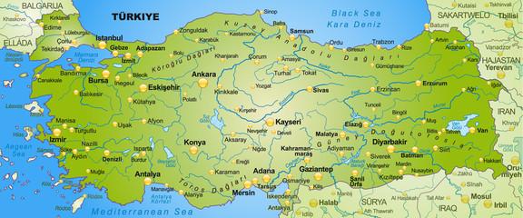 Umgebungskarte der Türkei mit Hauptstädten