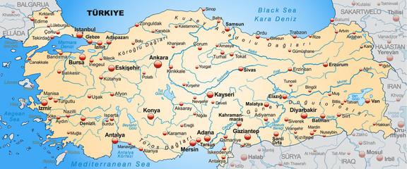 Landkarte der Türkei mit Umland