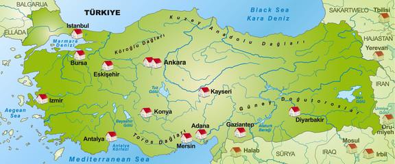 Internetkarte der Türkei mit Nachbarländern