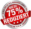 """Button Banner """"Bis zu 75% reduziert"""" rot/silber"""