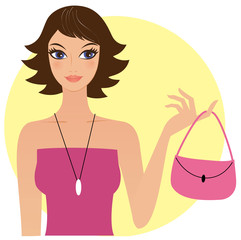 Attractive young woman holding pink handbag