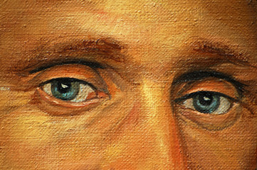 eyes of adult man, illustration, painting by oil on a canvas