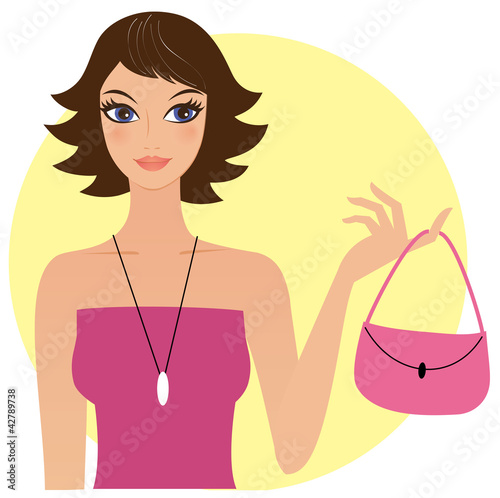 Attractive young woman holding pink handbag