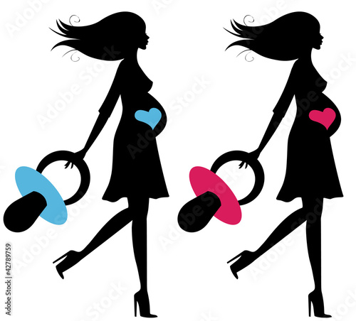 Set of two pregnant silhouettes with big pacifiers