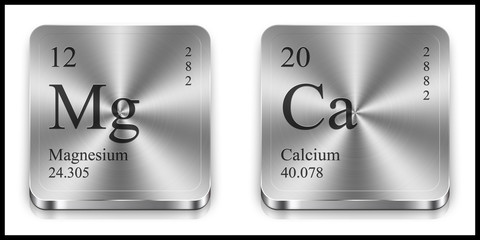 Magnesium and Calcium metalic web buttons