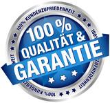 """Button Banner """"100 % Qualität & Garantie"""" blau/silber"""