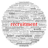 Recruitment concept in word tag cloud poster