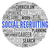 Social recruiting concept in word tag cloud poster