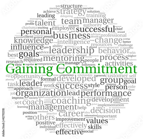Gaining Commitment concept in word tag cloud