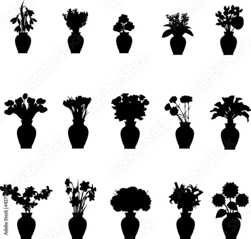 Bouquet different flowers in vase collection silhouettes