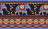 Detailed Indian Elephant Seamless Border