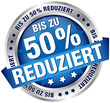 """Button Banner """"Bis zu 50% reduziert"""" blau/silber"""