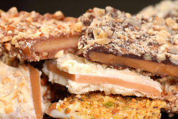 Variety of English Toffee with a shallow depth of field