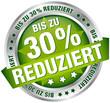 """Button Banner """"Bis zu 30% reduziert"""" grün/silber"""