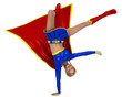 super girl in up side down