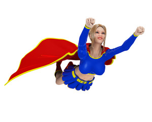 super girl flying out