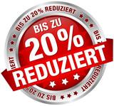 """Button Banner """"Bis zu 20% reduziert"""" rot/silber"""