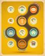 Retro web design template. Vector Illustration.