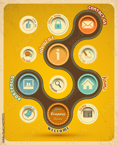 Retro web design template. Vector Illustration.