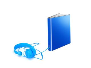 Hörbuch: Buch mit Audiobuchse und Kophörer