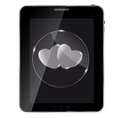 Heart glass Button on tablet. vector illustration