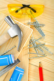 composition of carpentry tools on  wooden background poster