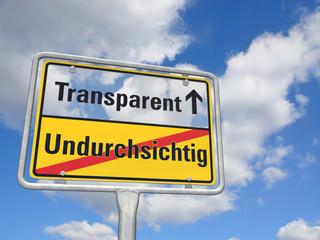 Schild Transparenz
