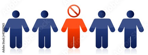 Row of people with do not sign illustration design