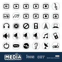 Music and media web icons set