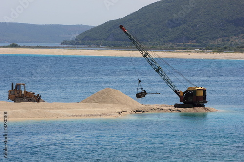 dredger and bulldozer