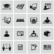 Higher Education icons set. Back to school.