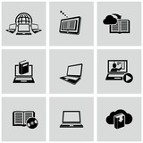 Education technology related icons set. Education online.