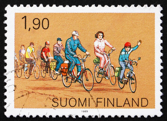Postage stamp Finland 1989 Cycling, Sports for the Family
