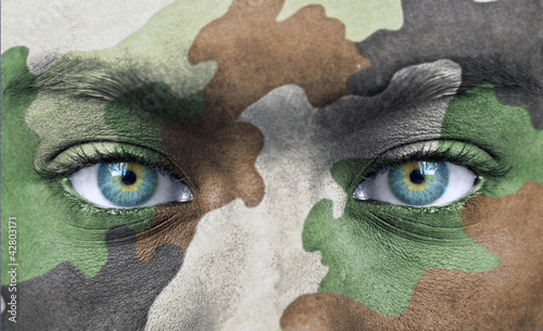 Soldier face with army colors